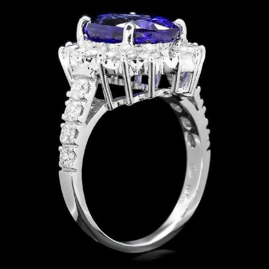 Other 5.60 Carats NATURAL TANZANITE and DIAMOND 14K Solid White Gold Ring Image 1