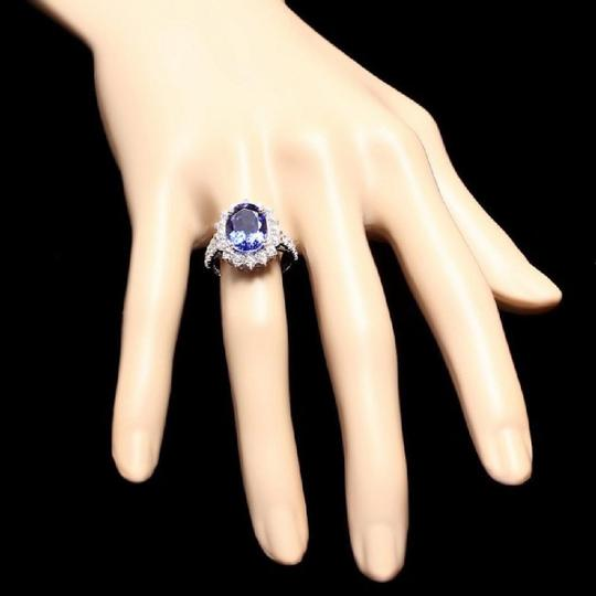 Other 5.60 Carats NATURAL TANZANITE and DIAMOND 14K Solid White Gold Ring Image 2