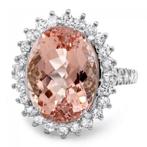 Other 9.20 Carats Natural Morganite and Diamond 14K Solid White Gold Ring