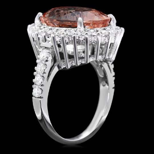 Other 9.20 Carats Natural Morganite and Diamond 14K Solid White Gold Ring Image 1