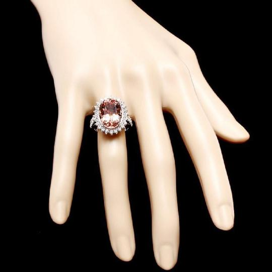 Other 9.20 Carats Natural Morganite and Diamond 14K Solid White Gold Ring Image 2