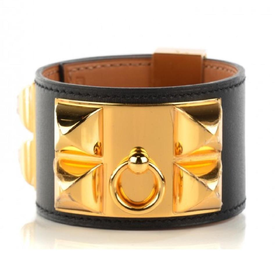 1c5f42b4110 Hermès Collier De Chien CDC Black Leather Gold Hardware Bracelet New W Tag  Image 0 ...