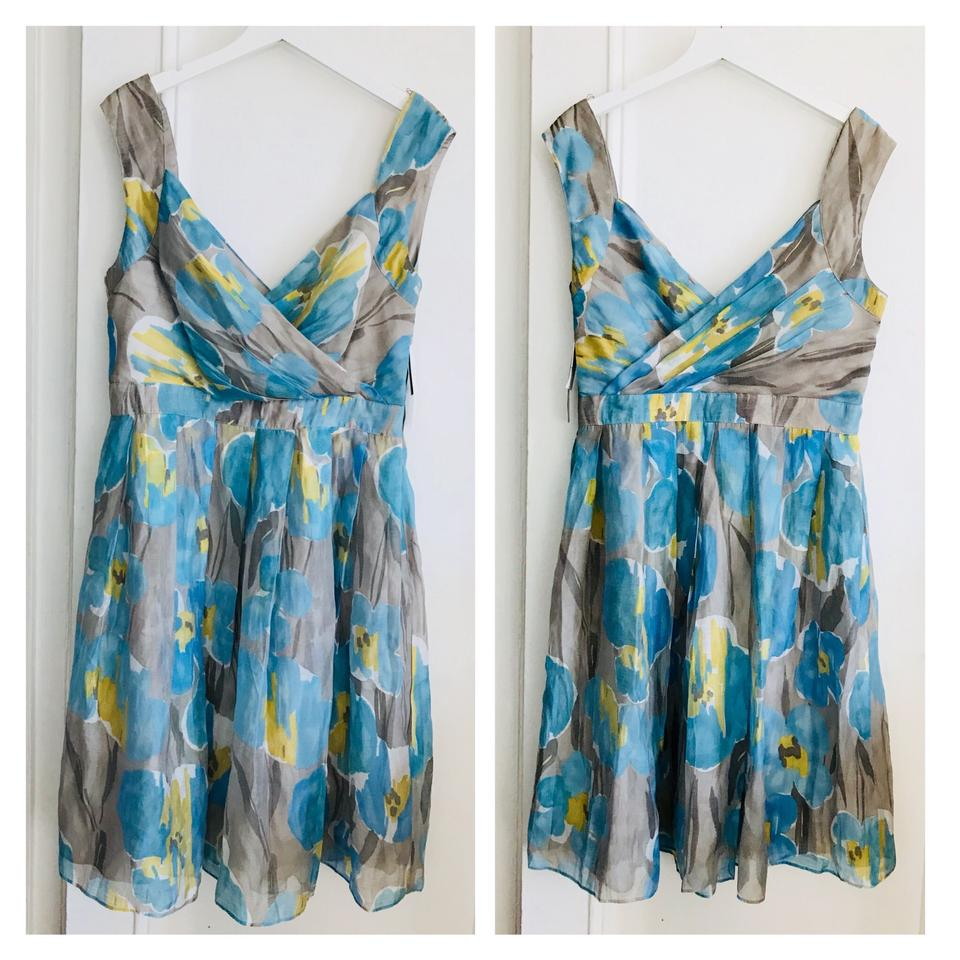 7a5fa45c019f Adrianna Papell Blue Yellow Gray Floral Print Short Casual Dress. Size  14 ( L) ...