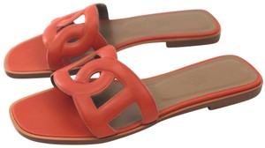 943ad0b81d10 Hermès Orange New Omaha Calfksin In Brûlée Sandals Size EU 38 ...