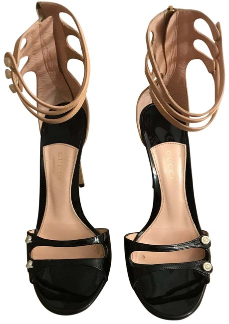 Item - Black Patent Leather and Beije Leather Sandals Formal Shoes Size EU 38.5 (Approx. US 8.5) Regular (M, B)