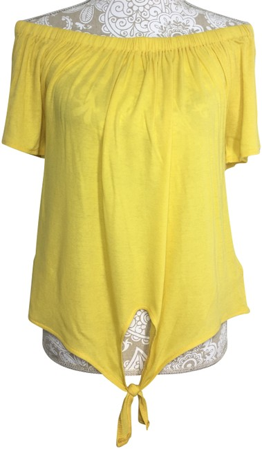 Preload https://img-static.tradesy.com/item/22937161/cupcakes-and-cashmere-yellow-kathie-off-the-shoulder-tee-shirt-size-8-m-0-1-650-650.jpg