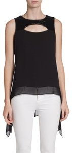 BCBGMAXAZRIA Sequin Cut-out Sold Out Top Black