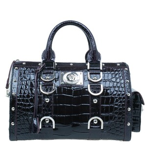 Versace Snap Out Of Patent Leather Satchel in purple