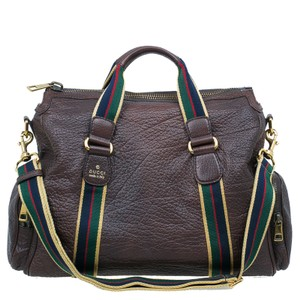 Gucci Duffle Leather brown Travel Bag