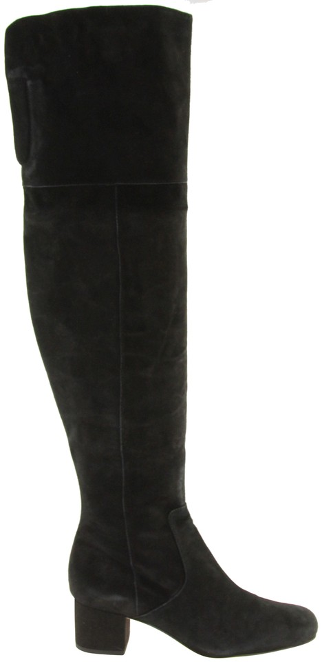 0836f340aaa6 Sam Edelman Black Elina Suede Leather Over The Knee Boots Booties ...