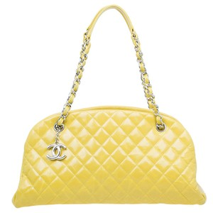 Chanel Just Mademoiselle Bowling Calfskin Leather Satchel in yellow
