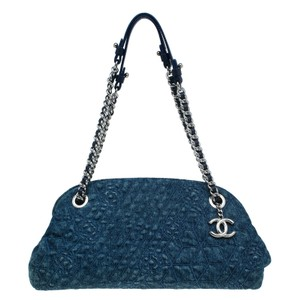Chanel Just Mademoiselle Bowling Camellia Denim Satchel in blue