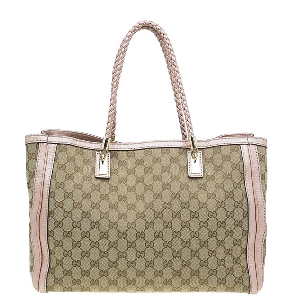 1bbe71285a07 Gucci Beige/Metallic Pink Gg and Leather Medium Bella Beige Canvas ...