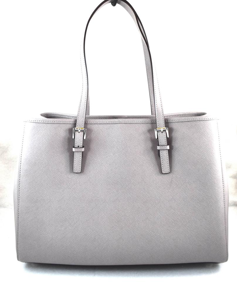 e016657394799d Michael Kors Jet Set Travel Large East West Pearl Grey Leather Tote ...