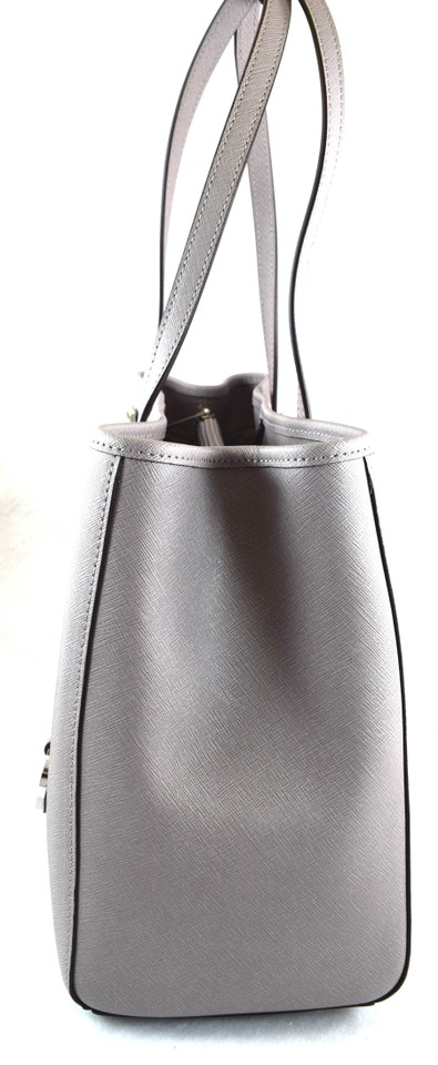 1731bbe220f5f Michael Kors Jet Set Travel Large East West Pearl Grey Leather Tote ...