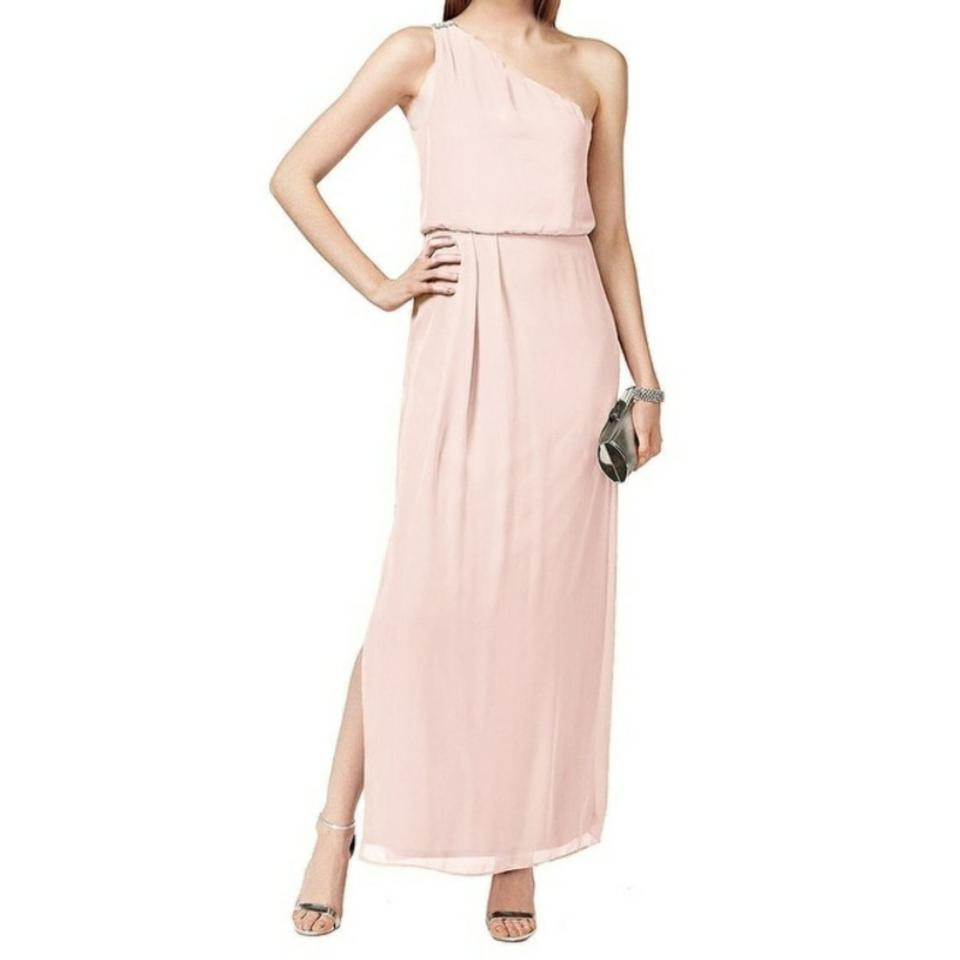 Adrianna Papell Pink One Shoulder Chiffon Gown Long Cocktail Dress ...