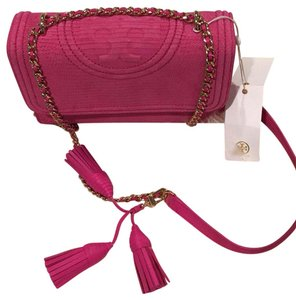 f23e9e8ebd65 Added to Shopping Bag. Tory Burch Cross Body Bag. Tory Burch Fleming Snake  Convertible Small Pink Python Skin ...