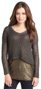 Eileen Fisher Layering Piece V-neck Long Sleeves Knotted Sheer Knit Styling Sweater