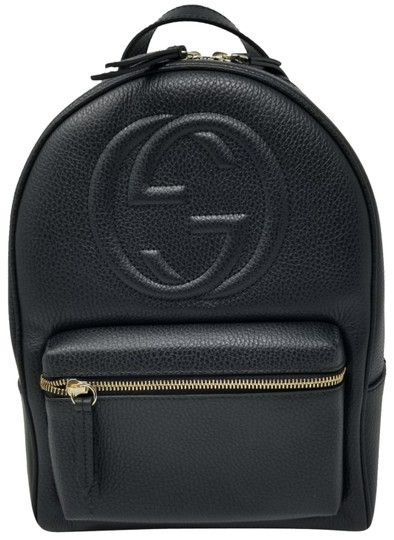 low price sale wide range top quality Gucci Soho 431570 with Chain Strap Black Leather Backpack 55% off retail
