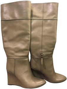 Tory Burch Leather Wedge Grey/Beige Boots