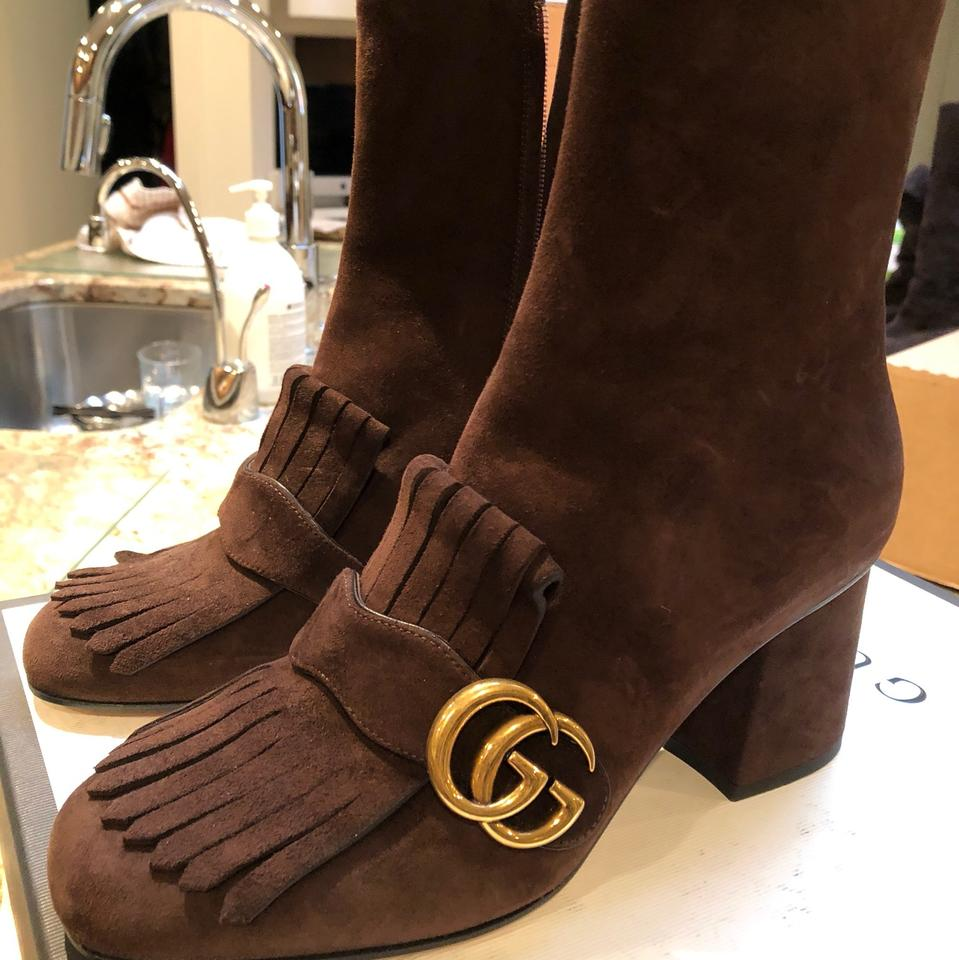 4543c2c9811 Gucci Brown Marmont Suede 75mm Ankle Boots Booties Size US 7.5 ...