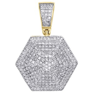 Jewelry For Less 10K Yellow Gold Diamond 3D Dome Pillow Hexagon Pendant Charm 0.60 CT.