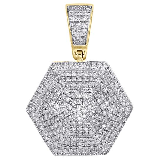 Preload https://img-static.tradesy.com/item/22938149/jewelry-for-less-yellow-gold-10k-diamond-3d-dome-hexagon-pendant-060-ct-charm-0-0-540-540.jpg