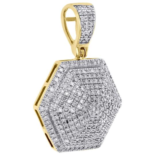 Jewelry For Less 10K Yellow Gold Diamond 3D Dome Pillow Hexagon Pendant Charm 0.60 CT. Image 1