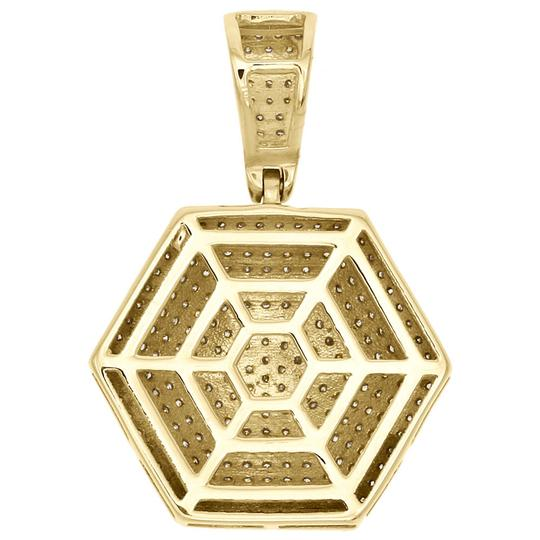 Jewelry For Less 10K Yellow Gold Diamond 3D Dome Pillow Hexagon Pendant Charm 0.60 CT. Image 2