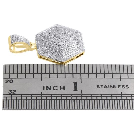 Jewelry For Less 10K Yellow Gold Diamond 3D Dome Pillow Hexagon Pendant Charm 0.60 CT. Image 3