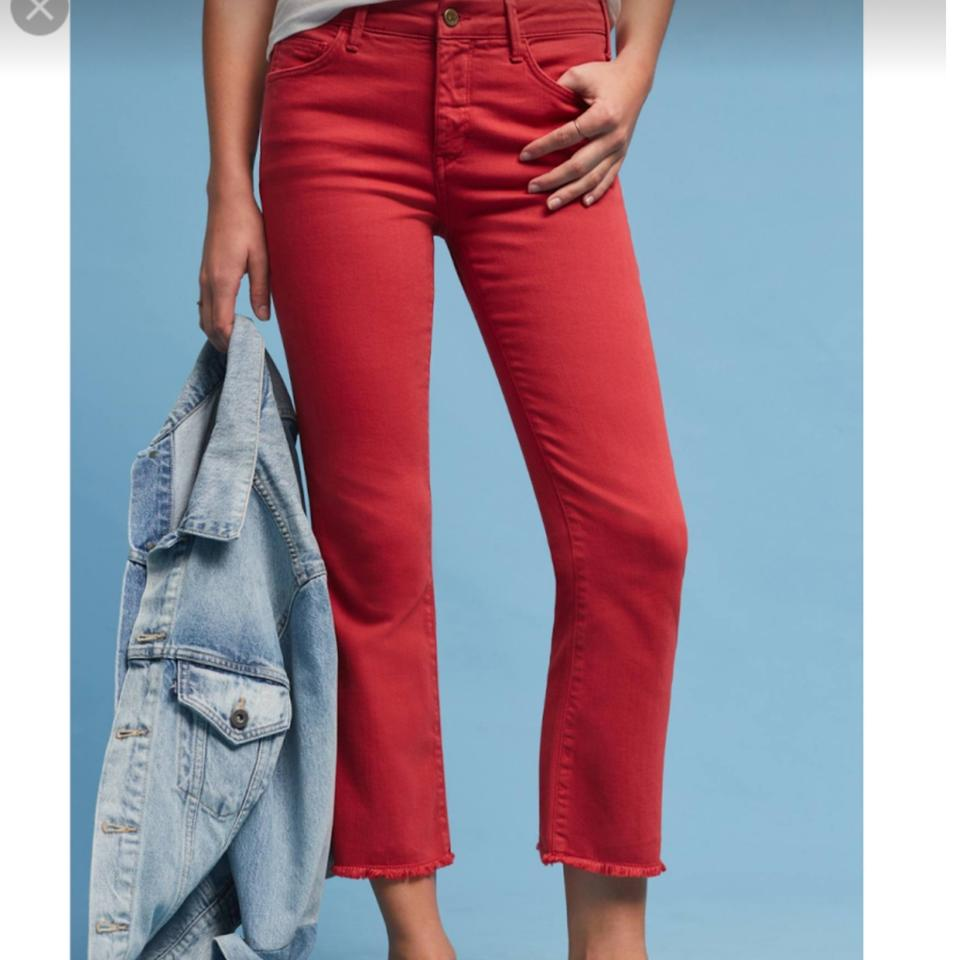 b5f09d297ad Anthropologie Red Medium Wash Pilcro High Rise Crop Flare Capri ...