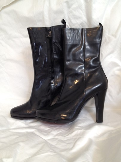 CoSTUME NATIONAL Patent Leather Gloss Black Boots Image 2