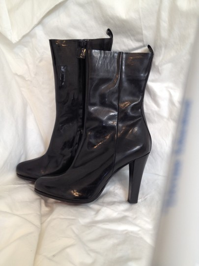 CoSTUME NATIONAL Patent Leather Gloss Black Boots Image 3