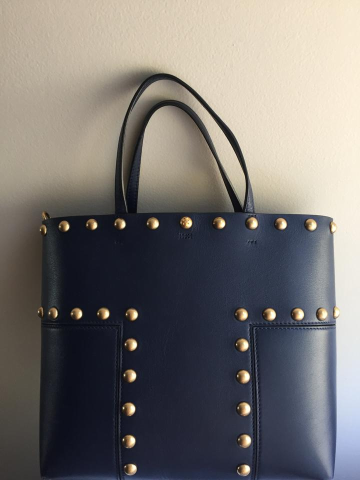 1a585b1d51a8 Tory Burch Block-T T Studded Block Navy Leather Tote - Tradesy
