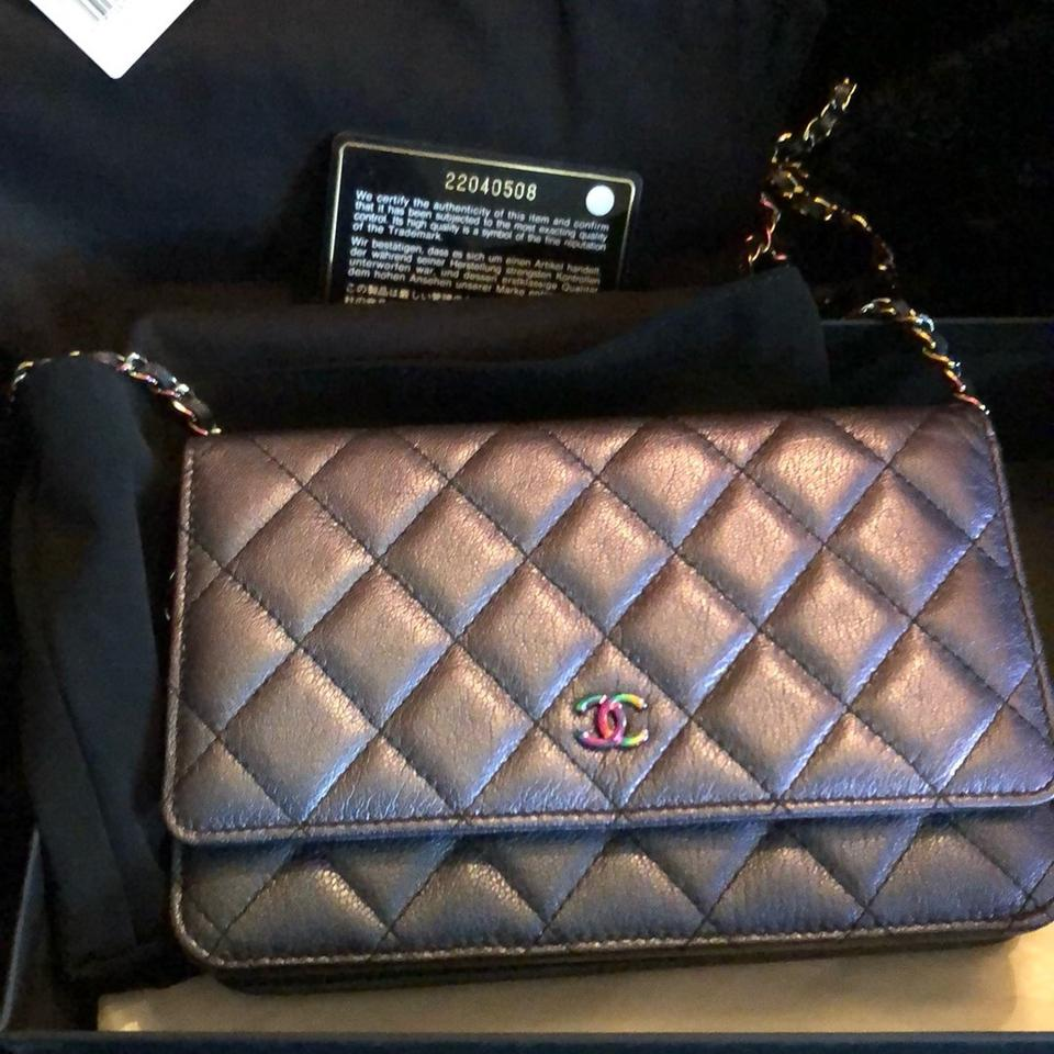 8475b528e19d Chanel Wallet on Chain Rare Mermaid Rainbow Iridescent Goat Skin ...