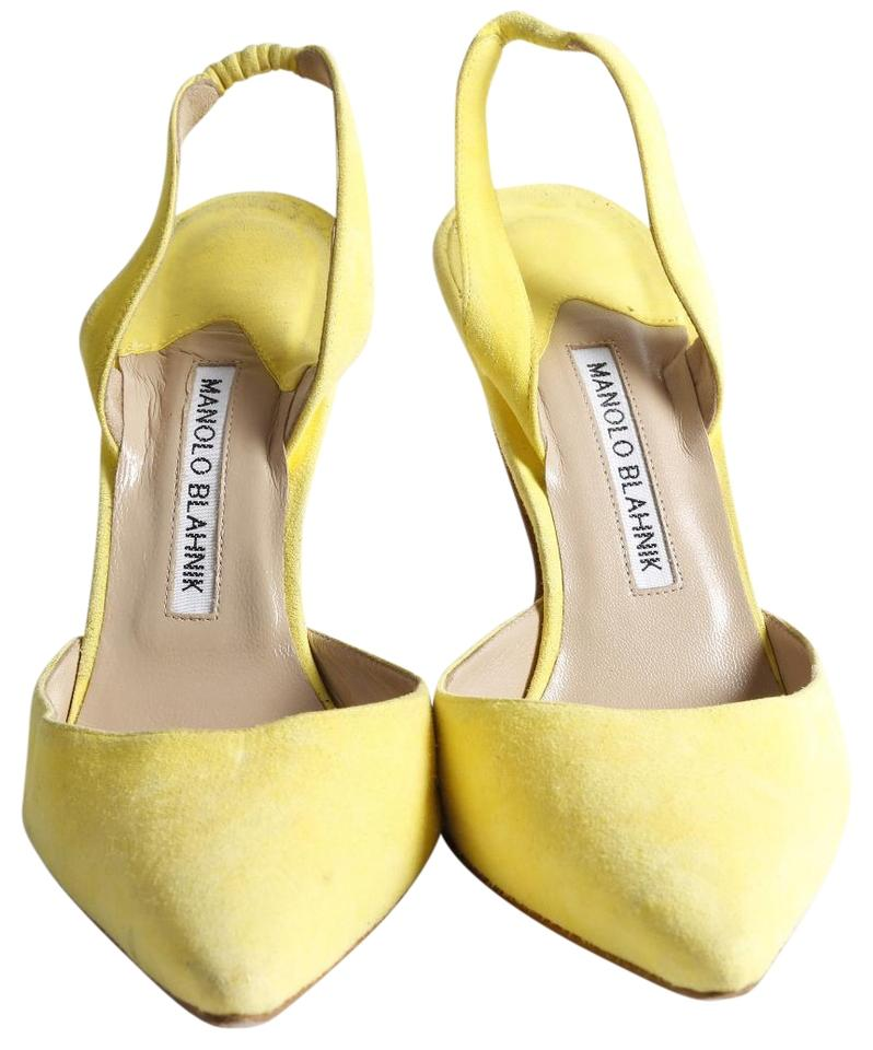 22262343342dc5 Manolo Blahnik Yellow Slingback Heels Sandals Size US 8.5 Regular (M ...