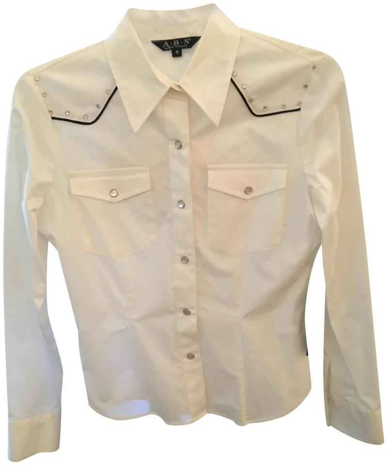 74638cd7 A.B.S. by Allen Schwartz Western Opal Snap Buttons Fitted Button Down Shirt  White Image 0 ...