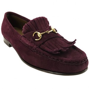 Gucci 351305 Loafer Suede Burgundy Flats