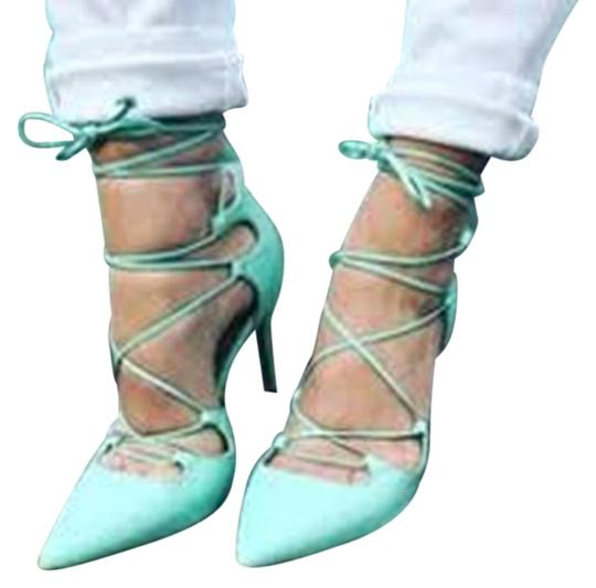 Banana Republic Lace Up Spring Summer Mint Green Pumps Image 1