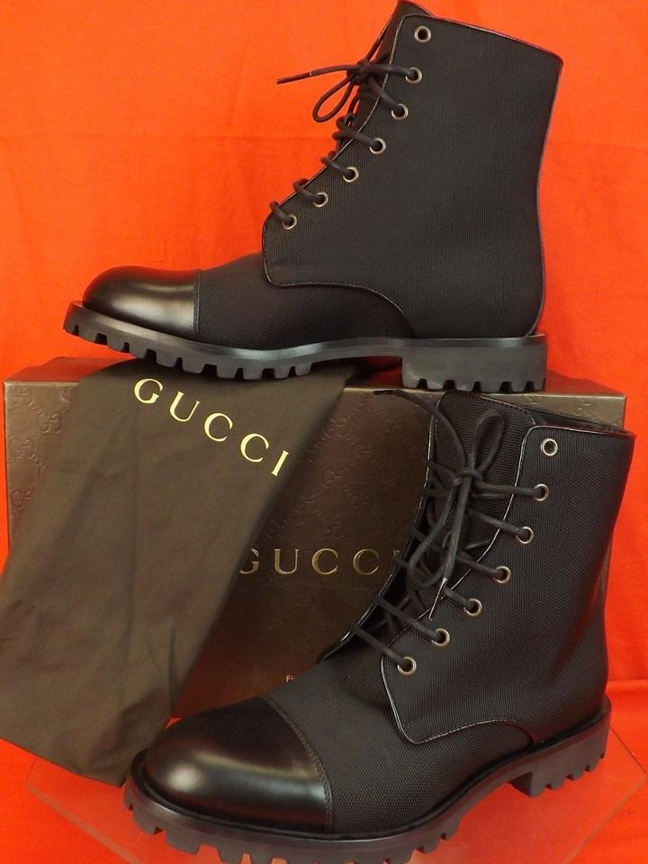 940c32bb1 Gucci Black Canvas Interlocking Gg Leather Cap Toe Combat Boots 7 Us 8  #3684 Shoes ...
