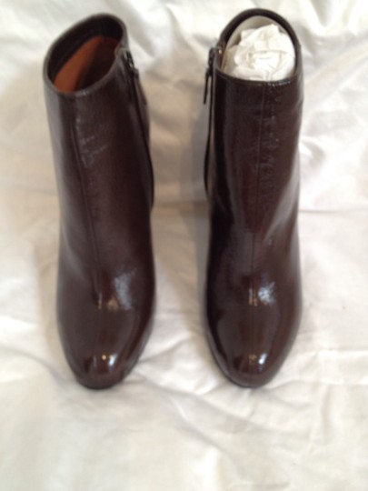 Lanvin Patent Leather Wedge Brown Boots