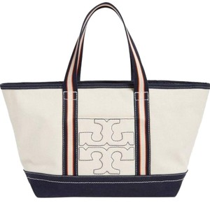Tory Burch Beach Travel Large Summer Nautical Tote in Natural Navy