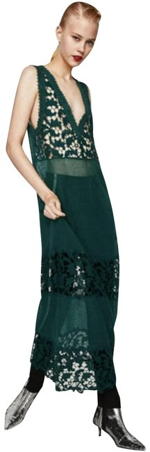 Item - Green Crochet Embroidered Long Night Out Dress Size 4 (S)