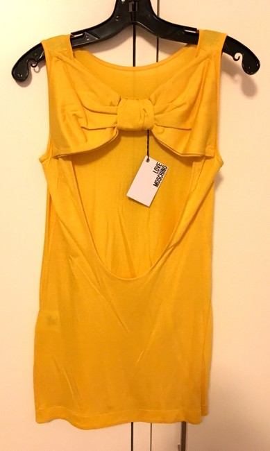 Love Moschino Bow Open Back Scoop Back Cut-out Jersey T Shirt Yellow Image 3