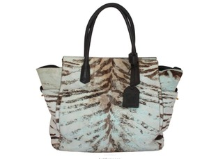Reed Krakoff Ponyhair Leather Zebra Tote in Brown and Cream