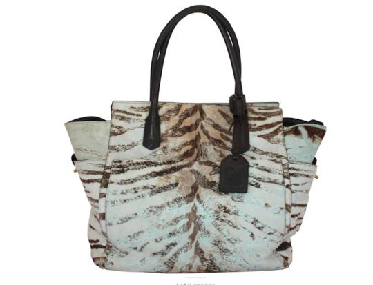 Reed Krakoff Ponyhair Leather Zebra Tote in Brown and Cream Image 0