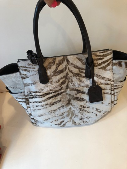 Reed Krakoff Ponyhair Leather Zebra Tote in Brown and Cream Image 1
