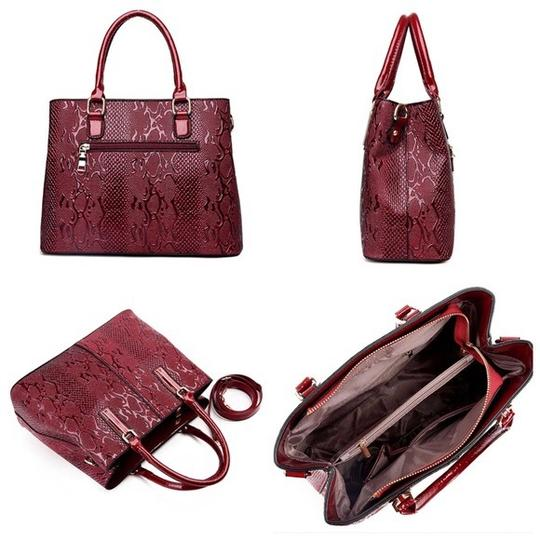 Other Crocodile Embossed Handbag Satchel in Brown Image 3