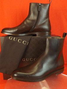 Gucci Cocoa/Burnish Betis Glamour Leather Zip Ankle Boots 8 Us 9 #298784 Shoes