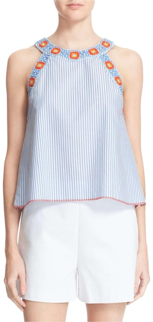 Preload https://img-static.tradesy.com/item/22939473/tory-burch-blue-and-white-meg-swing-stripe-orange-floral-embroider-cotton-blouse-size-2-xs-0-1-650-650.jpg